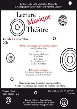 Affiche d'un spectacle intégrant des lectures, un concert et du théâtre.